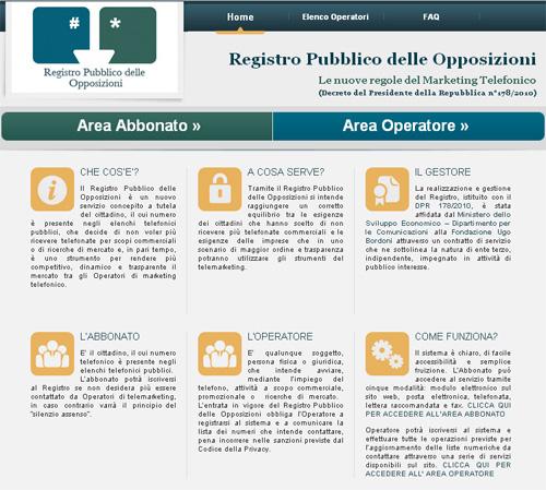 Sito Registro Pubblico delle Opposizioni
